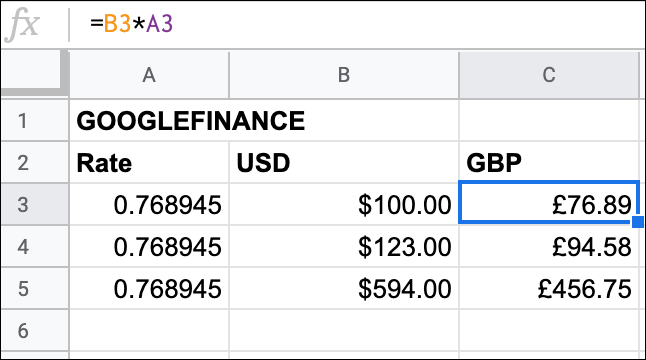 Various USD to GBP currency conversions in Google Sheets using the GOOGLEFINANCE function