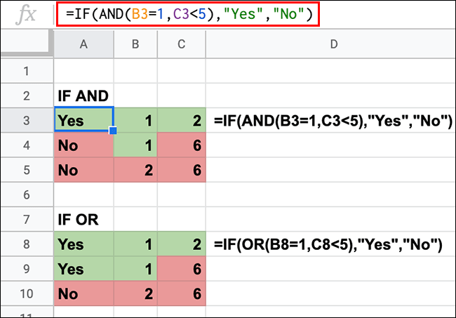 A Google Sheets spreadsheet showing IF statements with AND and OR nested functions