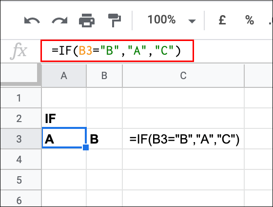 A simple IF statement used in Google Sheets to test the value of a cell, returning a TRUE result