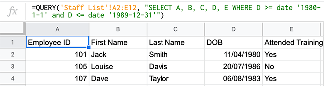 The QUERY function in Google Sheets showing a QUERY function using comparison operators to look for values between two dates.