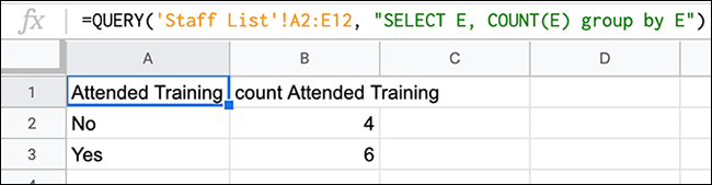 A formula in Google Sheets, using a QUERY function combined with a COUNT to count the number of mentions of a certain value in a column.