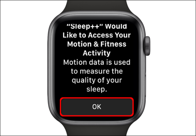 "Tap ""OK"" to give the Sleep++ app permission to access your motion and fitness activity."