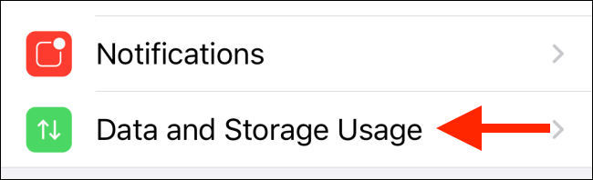 Tap on Data and Storage Usage on iPhone
