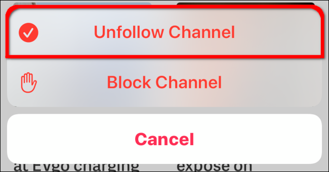 Unfollow Channel Overlay