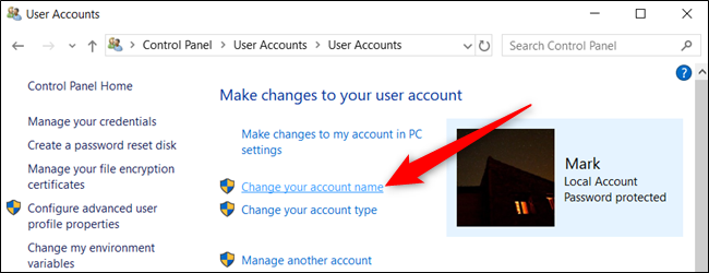 "Click on ""Change your account name."""