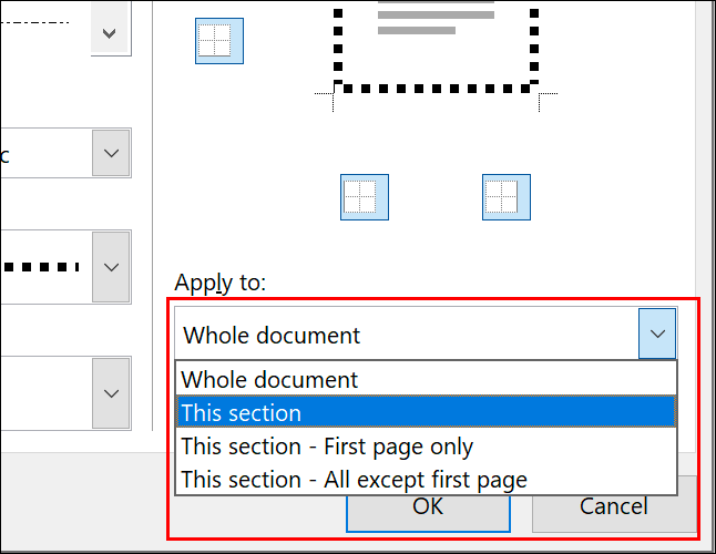 """To apply a page border to individual pages, select the relevant option from the """"Apply To"""" drop down menu in the Page Borders options menu"""