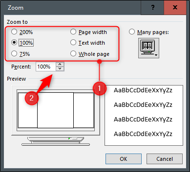 Zoom options in the zoom dialog box