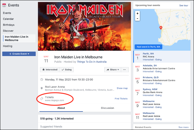 Fake Event Page on Facebook with Ticket Reseller Link