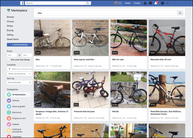 Searching for Bikes on Facebook Marketplace