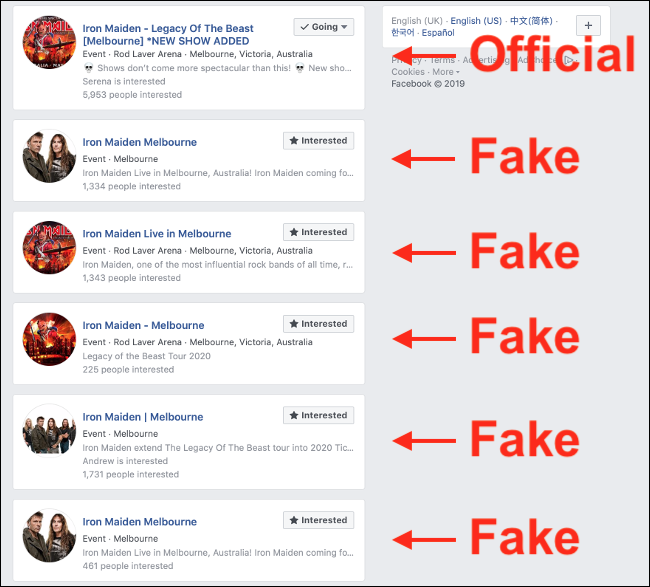 Duplicate False Events on Facebook