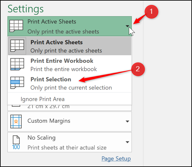 Print selection on a worksheet