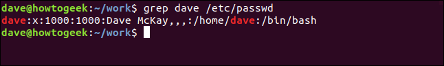grep dave /etc/password in a terminal widnow