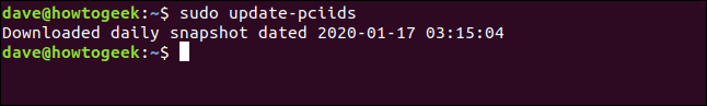 """The """"sudo update-pciids"""" command in a terminal window."""
