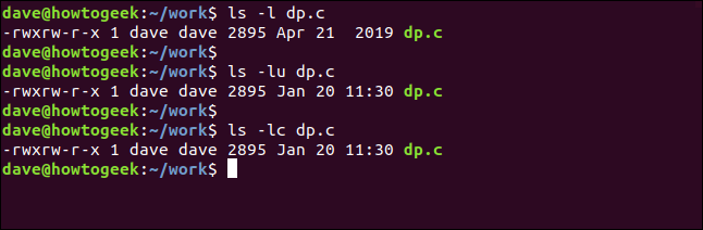 "The ""ls -l dp.c"" commands in a terminal window."