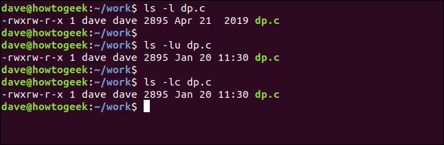 "Los comandos ""ls -l dp.c"" en una ventana de terminal."