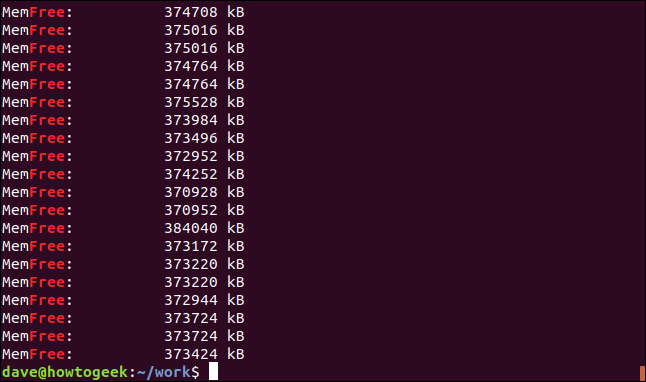 Output from grep -i free geek-1.log in a terminal window