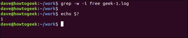 grep -w -i free geek-1.log in a terminal window
