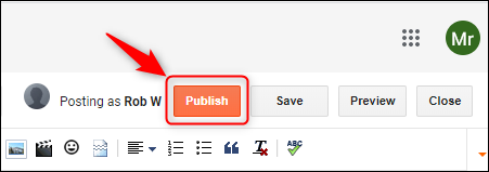 "The ""Publish"" button."