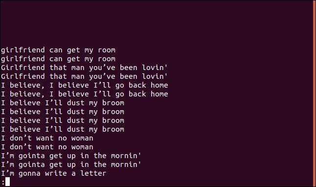 Salida de uniq -D sorted.txt |  menos en menos en una ventana de terminal