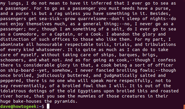 Salida de un pliegue -w 75 short-lines-moby-dick.txt en una ventana de terminal