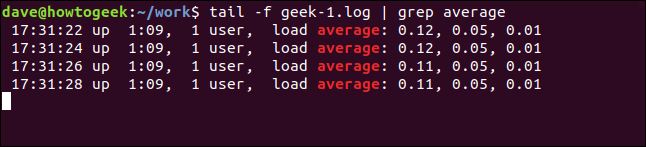 tail -f geek-1.log | grep average in a terminal window