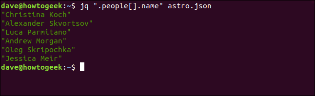 "The ""jq "".people[].name"" astros.json"" command in a terminal window."