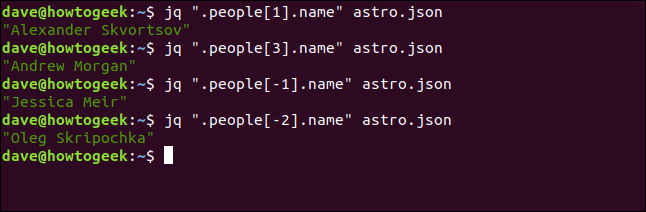 "The ""jq "".people[1].name"" astro.json,"" ""jq "".people[3].name"" astro.json,"" ""jq "".people[-1].name"" astro.json,"" and ""jq "".people[-2].name"" astro.json"" in a terminal window."