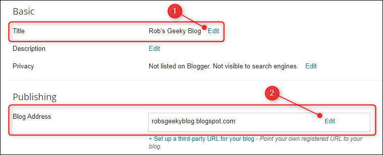 The Settings, with Title and Blog Address highlighted.