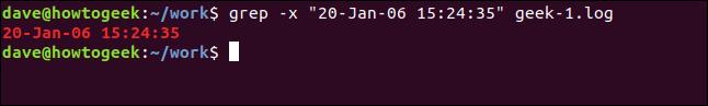 """grep -x """"20-Jan--06 15:24:35"""" geek-1.log in a terminal window"""