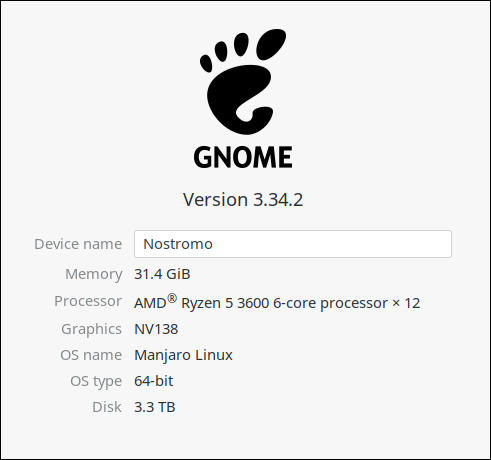 """The GNOME Settings """"About"""" tab for a physical host."""