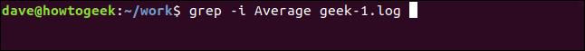 grep -i Average geek-1.log ina terminal window
