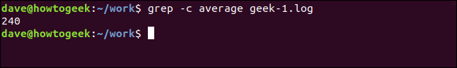 grep -c average geek-1.log in a terminal window