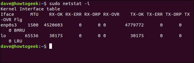 Tabla de interfaz de kernel en una ventana de terminal