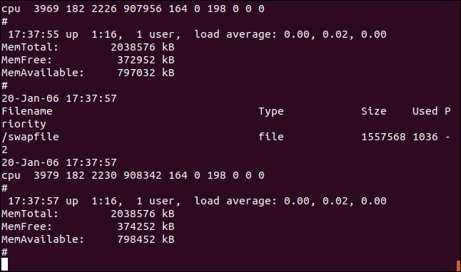 Salida de tail -f -q geek-1.log geek-2.log en una ventana de terminal