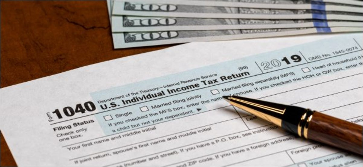 A 2019 individual income tax return form due on April 15, 2020.