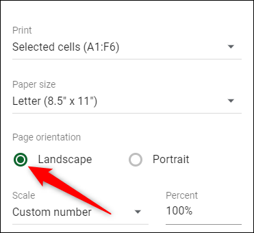 """Click on """"Landscape"""" to change the page orientation."""