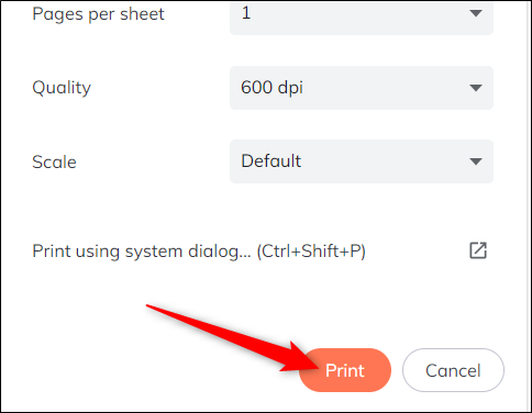 "Finally, click ""Print"" to send the job to your printer."