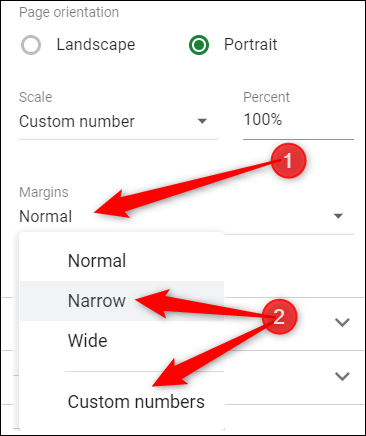 """Change the margins of the cells to """"Narrow"""" or """"Custom numbers"""" so they all fit nicely on one page."""