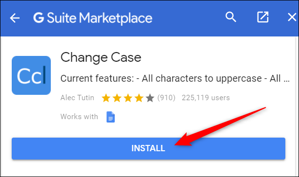 """Click """"Install"""" to install the add-on into Google Docs."""