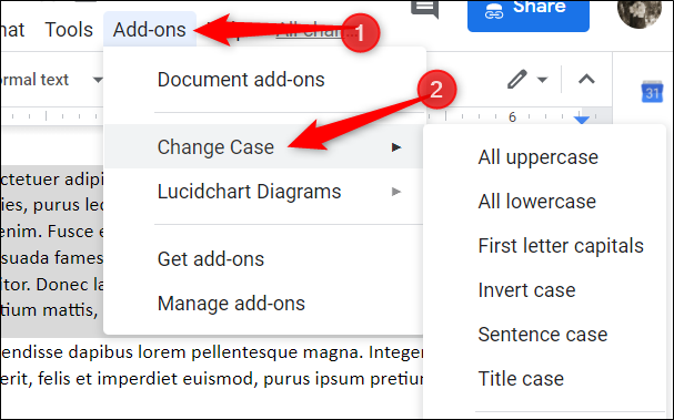 Click Add-ons > Change case to access all the types of case you can apply to your text.