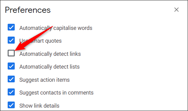 """Untick the box next to """"Automatically detect links"""" to prevent automatic detection."""