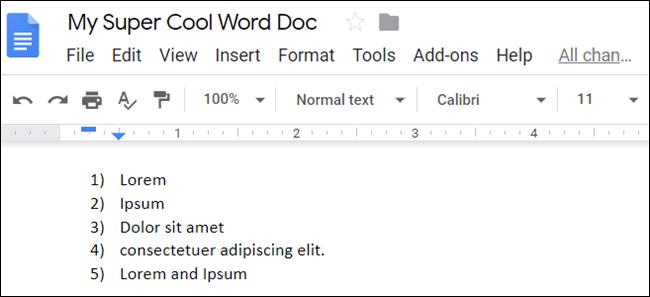 Una lista numerada en un documento de Google.