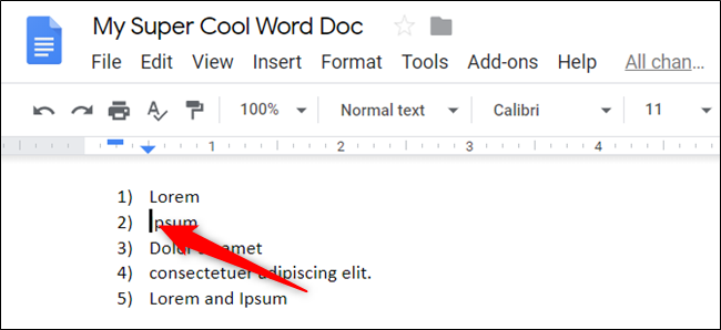 Haga clic en el comienzo de una línea para colocar el cursor allí.