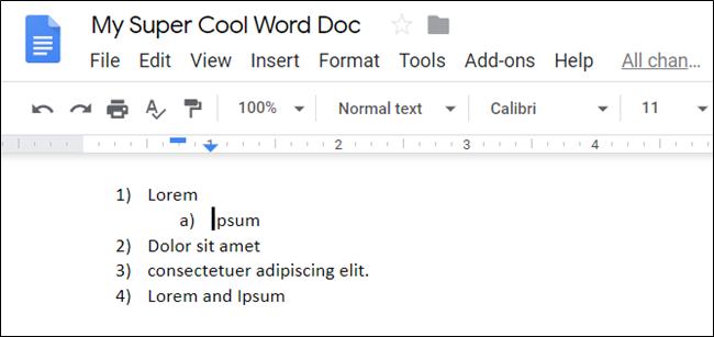 Un elemento de lista degradado en un documento de Google.