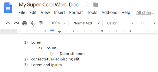 A list showing an item demoted twice in Google Docs.