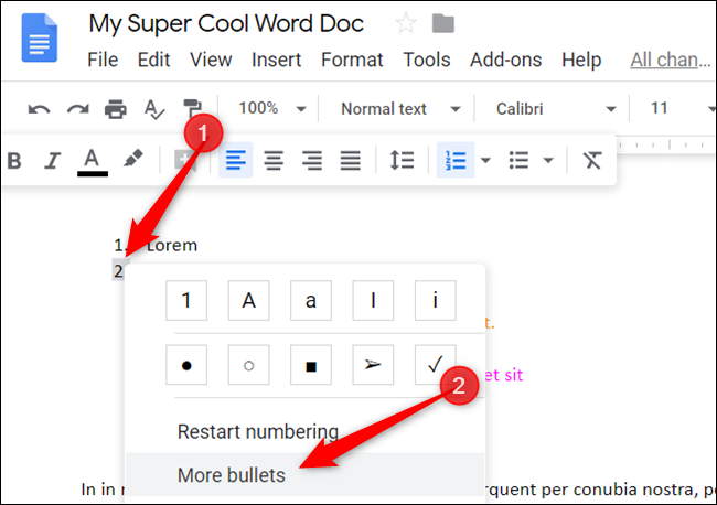"""Double-click the number you want to change, right-click it, and then click """"More Bullets."""""""
