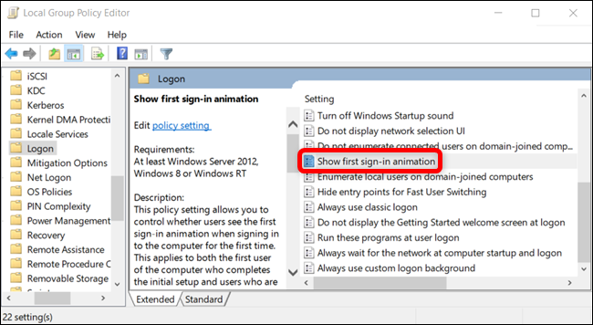 Locate the setting in the right pane and double-click on it.