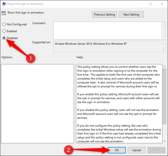 """Click the """"Disabled"""" option, and then click """"OK"""" to save the changes."""