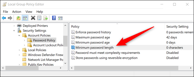 "Open the Group Policy Editor and double-click ""Minimum Password Length."""