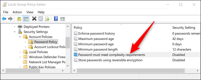 "Double-click ""Password must meet complexity requirements"" to increase password intensity."